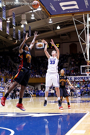 Haley Peters is on fire, hitting a free throw line jumper for a 29-26 Duke lead  - Duke Tags: #33 Haley Peters