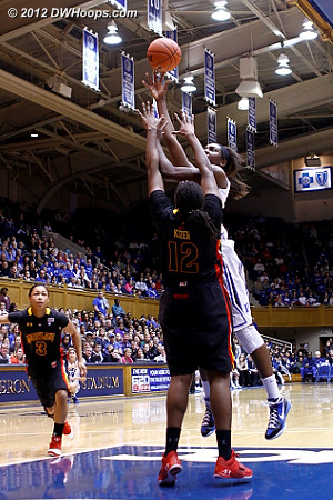 Pulling up for a jumper, Duke leads 31-28  - Duke Tags: #1 Elizabeth Williams