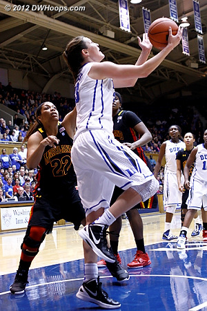 Haley Peters hits her trademark reverse layup (members see a three frame sequence)  - Duke Tags: #33 Haley Peters