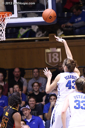 Vernerey would use the right hand (brace still in place) to stick back her own miss, 40-32 Duke  - Duke Tags: #43 Allison Vernerey