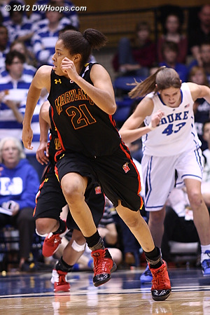 Tianna Hawkins runs the court as Maryland would cut the  large Duke lead down to just one by halftime