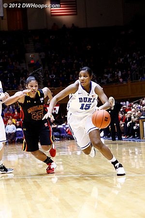 Richa sees a lane to the hoop and drives past Alicia Thomas