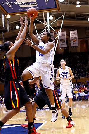 Richa Jackson attacks the basket but misses early in the second half