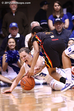 Haley Peters battles Maryland's Brene Moseley for a loose ball - our members get to see many more frames of this dramatic sequence