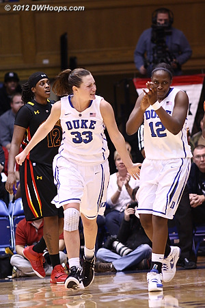 Peters and Gray celebrate forcing a Maryland timeout as Lynetta Kizer heads to the Terrapin bench