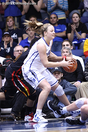 Tricia Liston grabbed a defensive rebound but got tied up by Barrett, her only turnover in 26 minutes of play