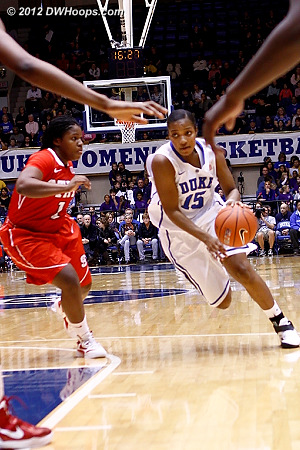 Richa Jackson drives on Goodwin-Coleman en route to her first hoop of the game