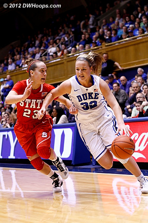 Tricia Liston drives against Marissa Kastanek (23)