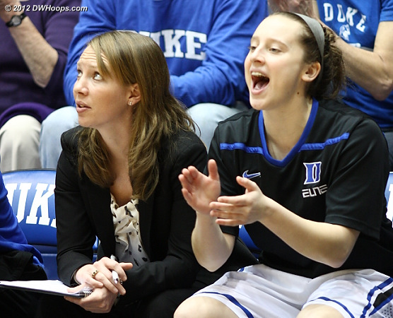 Jenna Frush (right) cheers the Blue Devils from the bench