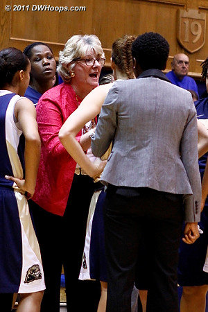 A quick time out called by Pitt coach Agnus Berenato, who many ACC fans remember from her years at Georgia Tech