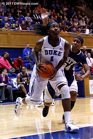 Chyna Golden (34) would block this Williams shot from behind  - Duke Tags: #1 Elizabeth Williams