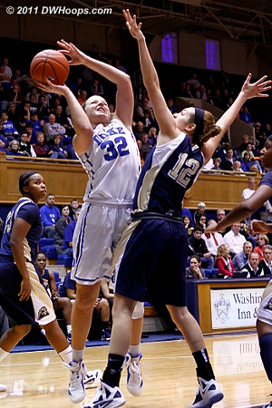 Abby Dowd (12) fouls Liston in the act  - Duke Tags: #32 Tricia Liston