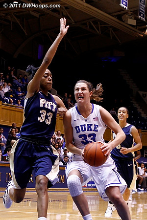 Pitt's Kyra Dunn (33) would swoop in to block this Haley Peters layup