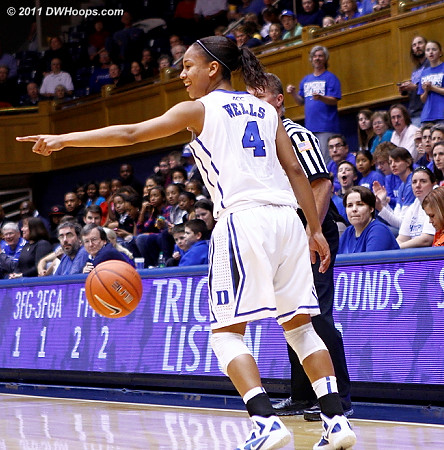 Chloe Wells after she poked the ball out of bounds  - Duke Tags: #4 Chloe Wells