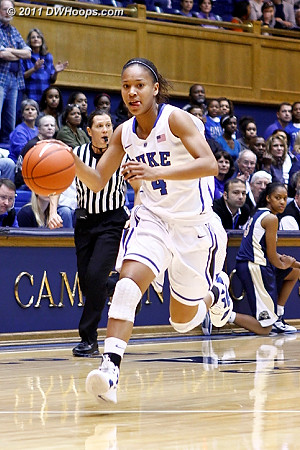Chloe Wells runs the floor on a Duke fast break