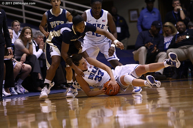 Haley Peters goes to the floor for a loose ball  - Duke Tags: #33 Haley Peters