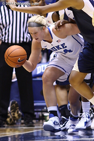 Kathleen Scheer tracks down a loose ball  - Duke Tags: #24 Kathleen Scheer