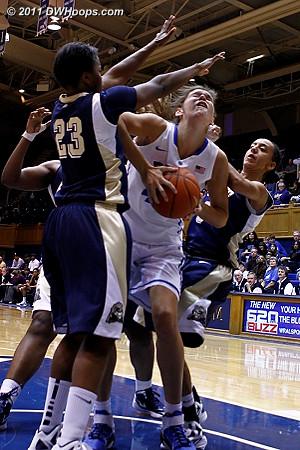 Allison Vernerey absorbs a foul  - Duke Tags: #43 Allison Vernerey