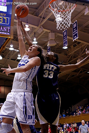 Haley couldn't sink the reverse layup this game, well guarded by Kyra Dunn  - Duke Tags: #33 Haley Peters