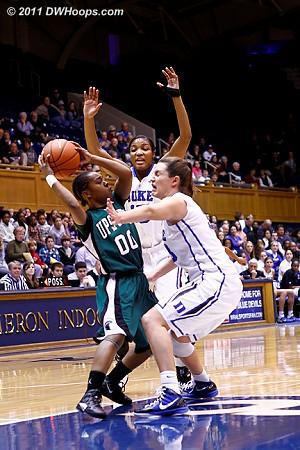 Richa and Haley press Briana Robinson (00)  - Duke Tags: #15 Richa Jackson, #33 Haley Peters
