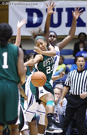 Tee'Ara Copney (23) loses the ball in the lane as Elizabeth Williams looms  - Duke Tags: #1 Elizabeth Williams