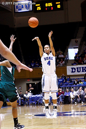 Chloe Wells hits a trey to put Duke up 29-10