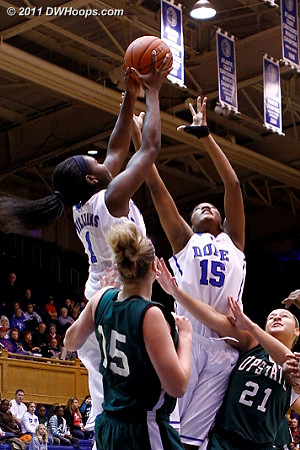 Williams grabs an offensive rebound and is fouled  - Duke Tags: #1 Elizabeth Williams