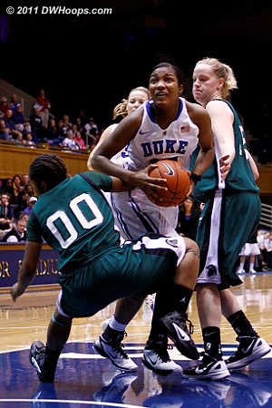 Richa Jackson draws a foul from Briana Robinson (00)