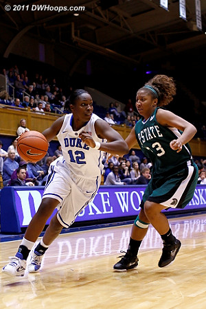 Chelsea drives on Tee'Ara Copney (23)  - Duke Tags: #12 Chelsea Gray