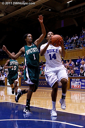 Tyra Smith (1) trails Ka'lia Johnson on a Duke fast break