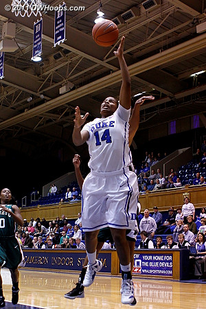 Ka'lia finishes  - Duke Tags: #14 Ka'lia Johnson