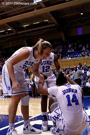 Tricia helps Ka'lia up  - Duke Tags: #14 Ka'lia Johnson, #32 Tricia Liston
