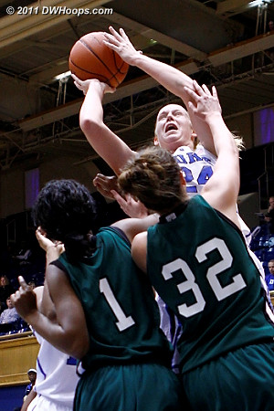 Scheer shoots over Tyra Smith (1) and Shelby Hicks (32)  - Duke Tags: #24 Kathleen Scheer
