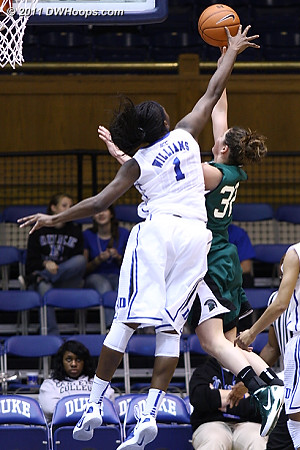 Elizabeth Williams finally got a blocked shot at the 9:07 mark of the second half, rejecting the layup of Shelby Hicks  - Duke Tags: #1 Elizabeth Williams