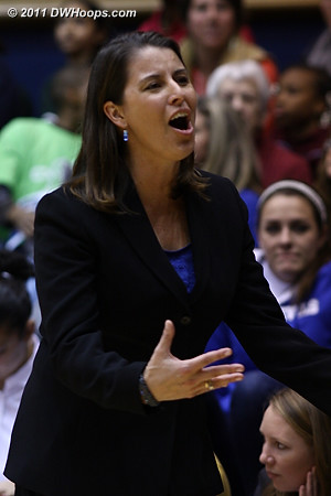 Coach P pleading her case after a Williams charge was called  - Duke Tags: Joanne P. McCallie