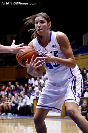 Vernerey loses the handle in the paint, she would regain and be fouled  - Duke Tags: #43 Allison Vernerey