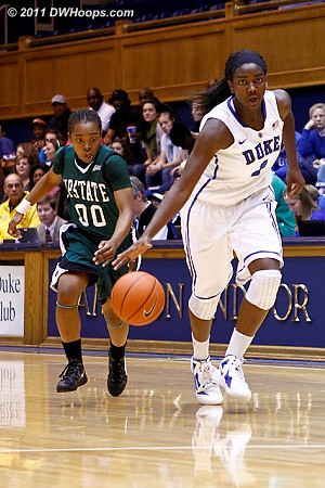 Elizabeth Williams has taken the ball from Briana Robinson  - Duke Tags: #1 Elizabeth Williams