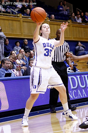 Walk-on Jenna Frush in the game for Duke