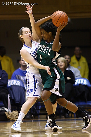 Frush on defense, all over Tyra Smith (1)  - Duke Tags: #35 Jenna Frush