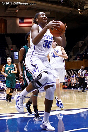 Amber scores Duke's final basket of the day, 93-35 was the final  - Duke Tags: #30 Amber Henson