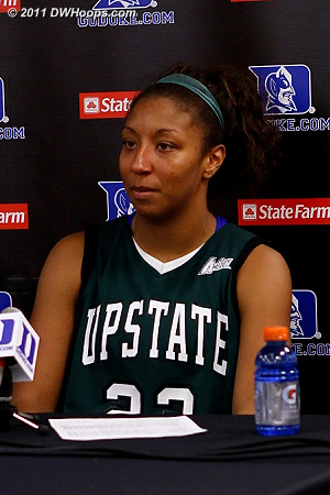 USC Upstate's Tee'Ara Copney in the media room