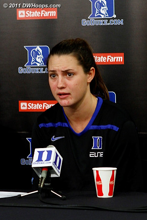 Haley Peters answers a question from Rob about how the locker room was at halftime  - Duke Tags: #33 Haley Peters