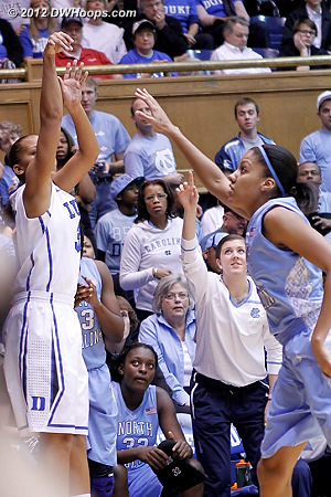 Shay Selby started and kicked off Duke's scoring with a trey right in front of UNC's bench