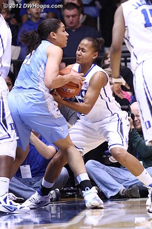 DWHoops Photo  - Duke Tags: #3 Shay Selby - UNC Players: #21 Krista Gross