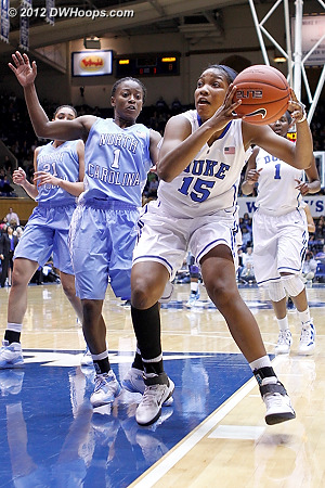 Jackson would score to make it 8-7 UNC  - Duke Tags: #15 Richa Jackson - UNC Players: #1 She'la White