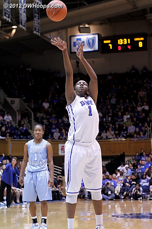 A pair of Williams free throws gave Duke the lead, 9-8.  She was 3-4 from the line tonight, improving her season average each recent game.  - Duke Tags: #1 Elizabeth Williams