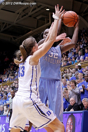 A Duke double-team forced a turnover  - Duke Tags: #33 Haley Peters, #43 Allison Vernerey - UNC Players: #32 Waltiea Rolle