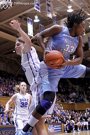 Laura Broomfield snags one of her seven first half rebounds, she would finish with ten  - Duke Tags: #43 Allison Vernerey - UNC Players: #33 Laura Broomfield
