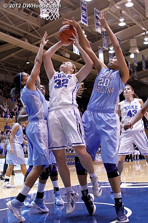 Shegog (right) might have had the block, but Wood (left) was whistled for the foul  - Duke Tags: #32 Tricia Liston - UNC Players: #4 Candace Wood, #20 Chay Shegog