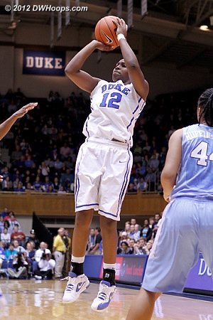 Chelsea Gray found the range on her stepback jumper, the 7-0 Duke run forced a UNC timeout.